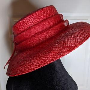 Betmar New York Red Straw Hat Flowers